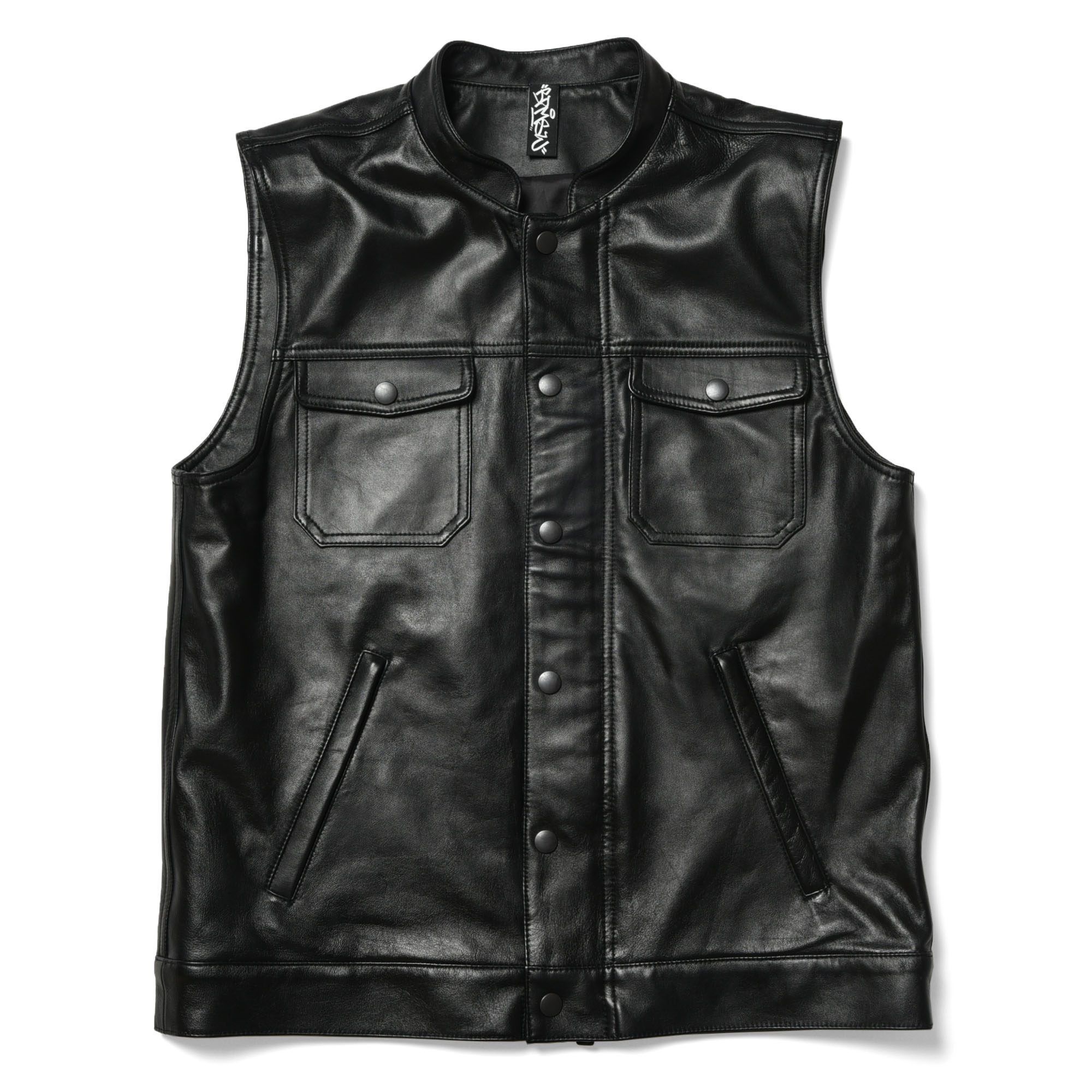 Stand Collar Ram Leather Vest